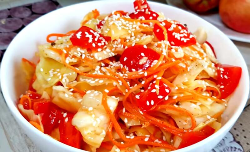Острый салат капусты на зиму чимча